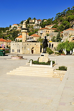 Historic city square and old mosque in the historic town of Deir el-Qamar, Chouf, Lebanon, Middle east, West Asia