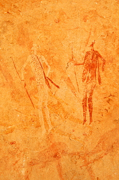 Neolithic rock art, painting of warriors, hunters with bow and arrow, Tasset Plateau, Tassili n'Ajjer National Park, Unesco World Heritage Site, Wilaya Illizi, Algeria, Sahara, North Africa