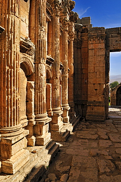 Interior of the antique Bacchus temple ruins at the archeological site of Baalbek, Unesco World Heritage Site, Bekaa Valley, Lebanon, Middle East, West Asia