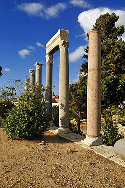 Antique roman ruins at the archeological site of Byblos, Unesco World Heritage Site, Jbail, Jbeil, Lebanon, Middle East, West Asia