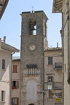 Torre della Campana e dell'Orologio, bell and clock tower, Piazza Umberto I, Arquata del Tronto, province of Ascoli Piceno, Marches, Italy, Europe