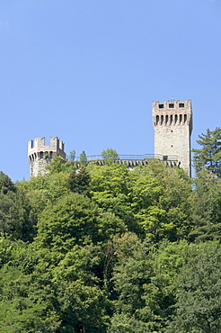 The remaining two of the three towers of the fortress of Arquata del Tronto, province of Ascoli Piceno, Marches, Italy, Europe