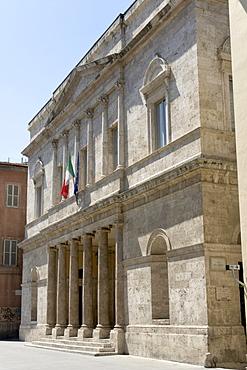 Neoclassic facade of the Teatro Ventidio Basso, Ascoli Piceno, Marches, Italy, Europe