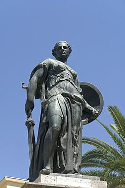 Bronze statue, Monument to the Fallen, by Gaetano Orsolini, Piazza Roma, Ascoli Piceno, Marches, Italy, Europe