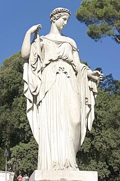 """""""La Primavera"""", Spring, by Filippo Gnaccarini, 1824, one of the four allegoric statues of the seasons in Piazza del Popolo, Rome, Latium, Italy, Europe"""