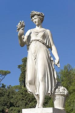 "One of the statues representing the four seasons, ""L'Estate"", Summer, by Italian sculptor Francesco Massimiliano Laboureur, 1824, Piazza del Popolo, Rome, Latium, Italy, Europe"