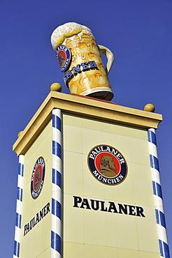 Paulaner tower of the Paulaner beer tent at Oktoberfest, Munich, Bavaria, Germany, Europe