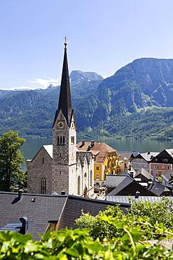 Hallstatt, evangelical church, Lake Hallstatt, Upper Austria, Austria, Europe