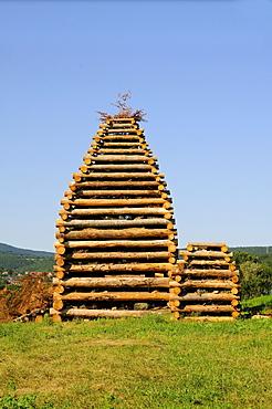 Pyre built for a fire at a village festival, Soultzmatt, Alsace, France, Europe
