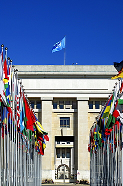 Flags from all over the world, courtyard with flags, United Nations, UN, Palais des Nations, Geneva, Switzerland, Europe