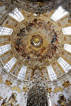 Cupola fresco by Johann Jakob Zeiller, monastery church, Ettal Abbey, Upper Bavaria, Bavaria, Germany, Europe