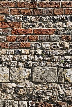 Masonry with different rock types, Church of St. John the Baptist, Bere Regis, Dorset, southern England, England, United Kingdom, Europe