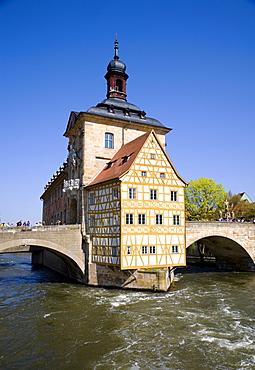 Historic town hall on the Pegnitz river, Bamberg, Franconia, Bavaria, Germany, Europe