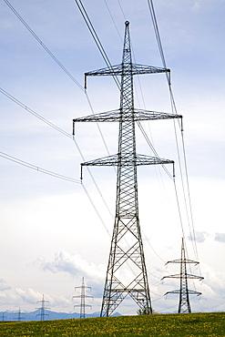 Electricity pylons, power poles, Paehl, Upper Bavaria, Bavaria, Germany, Europe