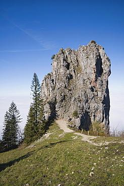 Limestone rock on the panoramic trail to the Kampenwand peak, Upper Bavaria, Bavaria, Germany, Europe