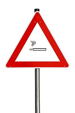 Danger sign, lit cigarette, composing