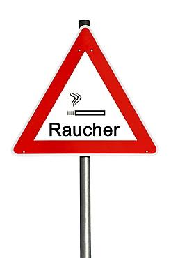 Danger sign, Raucher or smoker, composing