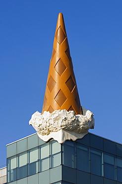 Architecture, ice cream cone, Neumarkt Galerie shopping mall, Cologne, North Rhine-Westphalia, Germany, Europe