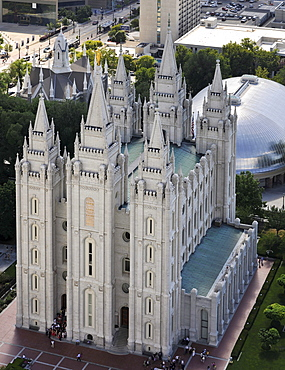Aerial view of the Temple of The Church of Jesus Christ of Latter-day Saints, Mormon Church, Temple Square, Salt Lake City, Utah, Southwest, USA, North America
