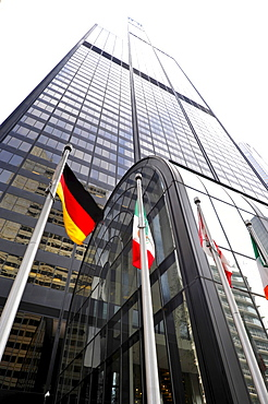 German national flag in front of the Willis Tower, formerly named Sears Tower and renamed in 2009, Chicago, Illinois, United States of America, USA
