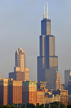 Willis Tower, formerly named Sears Tower and renamed in 2009, 311 South Wacker Drive skyscraper, skyline, Chicago, Illinois, United States of America, USA
