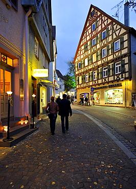 Waiblingen Leuchtet, illumination, old town, half-timbered houses, market place, Waiblingen, Rems-Murr-Kreis district, Baden-Wuerttemberg, Germany, Europe