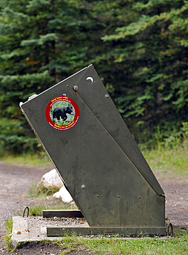 Bear-proof trash can, Yellowstone National Park, Wyoming, United States of America, USA