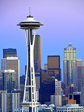 Evening mood, skyline of the Financial District in Seattle, Space Needle, Columbia Center, formerly known as Bank of America Tower, Washington Mutual Tower, Municipal Tower, formerly Key Tower, Washington, United States of America, USA