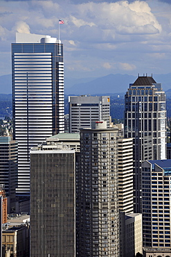 View from Space Needle to the southeast, Skyline Financial District Seattle with Two Union Square Tower, Westin Hotel, U.S. Bank Center, Washington, United States of America, USA