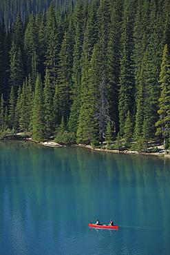 Canoe on Moraine Lake, Valley of the Ten Peaks, Banff National Park, Canadian Rockies, Alberta, Canada