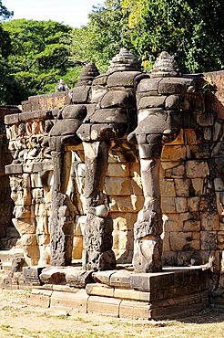 Relief of a three-headed elephant, Terrace of the Elephants, Angkor Thom, Angkor, UNESCO World Heritage Site, Siem Reap, Cambodia, Southeast Asia, Asia