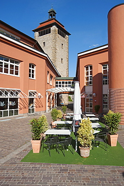 Bergfriedturm, an outlook and defensive tower bastion, Bruchsal, Kraichgau, Baden-Wuerttemberg, Germany, Europe