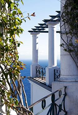 Lookout terrace on Piazza Umberto I square, Capri, island of Capri, Italy, Europe