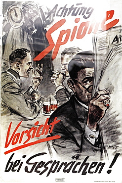 Nazi propaganda poster, warning to beware of spies and to be careful when discussing, exhibition at the former site of the Gestapo, ss and Reich Security Main Office, Topography of Terror, Berlin, Germany, Europe
