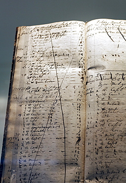 Historic notebook, account book, trading operations of Friedrich Jodocus Krupp, 18th century, Villa Huegel mansion, Baldeney district, Essen, North Rhine-Westphalia, Germany, Europe