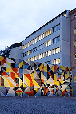 Geometric mosaic made of tiles by Sara Morris, Paul-Klee-Platz square, Kunstsammlung Nordrhein-Westfalen arts collection, K20 building, Duesseldorf, North Rhine-Westphalia, Germany, Europe