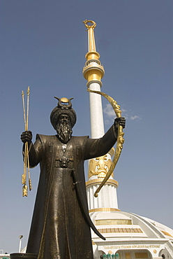 Statue with a sword in front of the Monument to the Independence of Turkmenistan, Ashgabat, Turkmenistan, Central Asia