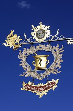 Old pharmacy sign, Rothenburg ob der Tauber, Franconia, Bavaria, Germany, Europe
