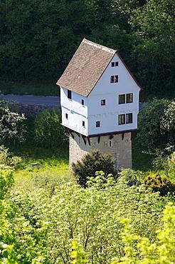 Medieval house on a tower, Rothenburg ob der Tauber, Franconia, Bavaria, Germany, Europe