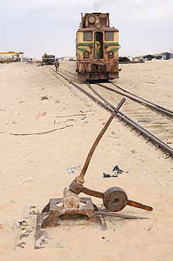 Track switch in front of the iron ore train of Zouerat, the longest and heaviest train in the world, Nouadhibou, Mauritania, northwestern Africa