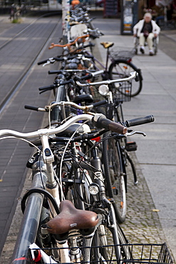 Parked bicycles and pavement in the city, Berlin, Germany, Europe