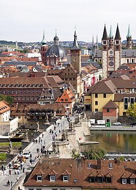 View of the Old Main Bridge and the city of Wuerzburg, Bavaria, Germany, Europe