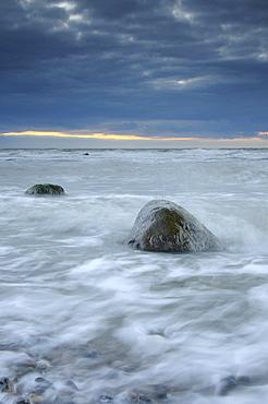 Rain front on the west coast of Ruegen, Mecklenburg-Western Pomerania, Germany, Europe