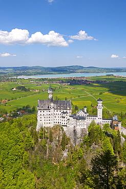 Schloss Neuschwanstein castle and Lake Forggensee, Fuessen, Allgau, Bavaria, Germany, Europe