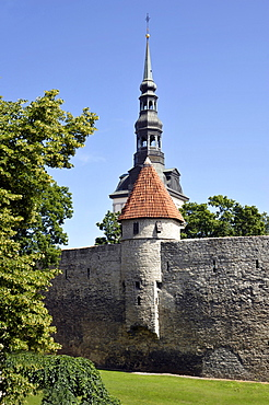 Historic town centre, city walls, tower of St. Nicholas Church, Tallinn, formerly Reval, Estonia, Baltic States, Northern Europe