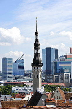 Historic town centre, view from Castle Hill, City Hall Tower, skyline of the financial district, Tallinn, formerly Reval, Estonia, Baltic States, Northern Europe