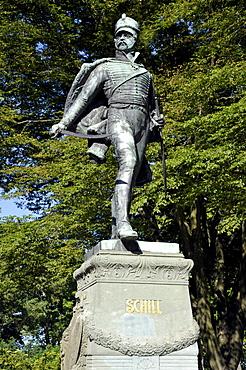Statue of Ferdinand von Schill, a Prussian officer, Stralsund, Mecklenburg-Western Pomerania, Germany, Europe