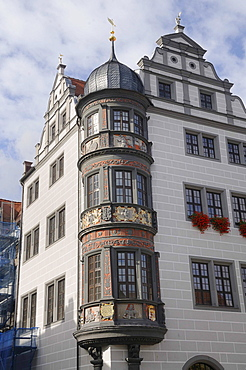 The corner bay window on the south transept, market place, Torgau, Landkreis Nordsachsen county, Saxony, Germany, Europe