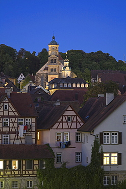 Old town with St. Michael Kirche church at night, Schwaebisch Hall, Hohenlohe, Baden-Wuerttemberg, Germany, Europe
