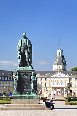 Schloss Karlsruhe castle with the statue of the Archduke of Baden, Baden-Wuerttemberg, Germany, Europe
